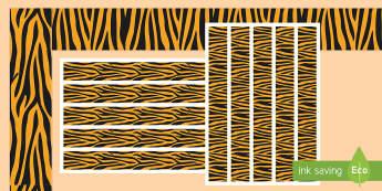 Tiger Print Themed Display Borders - Tiger Print Themed Display Borders - display,display border, literacy, writing, template, animals, b