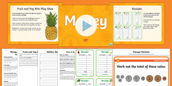 CfE First Level Money Station Activity Pack - CfE Numeracy and Mathematics, number, money, measure, shape, position, movement, data handling, info