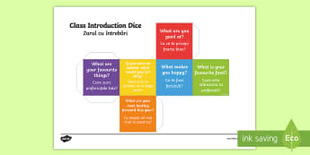 Class Introduction Questions Dice Net English/Romanian - Class Introduction Questions Dice Net - class introduction, questions dice, introduction, questions,