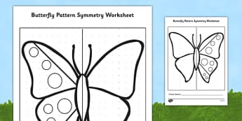 Butterfly Pattern Symmetry Activity Sheet(Minibeasts) - butterfly, minibeasts