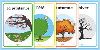 French Seasons Display Posters - Seasons, season, autumn, winter, spring, summer, fall, seasons activity, seasons display, four seasons, MFL, French, Modern Foreign Languages, foundation, languages, display