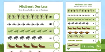 Minibeast Themed One Less Counting Activity Sheet - one less, counting, activity, count,countng,couting,prirate, fewer, coutning, xounting, bugs, minibe