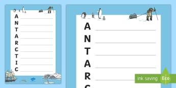 Antarctic Acrostic Poem Template - antarctic, acrostic, poem