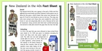 New Zealand in the 40s Fact Sheet - New Zealand, fact sheet, 40s, decades, reading, social studies, Aotearoa, world war 2