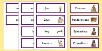 Pandoras Box Ancient Greek Myth Word Cards - greek mythology