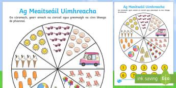 Bileog Mheaitseála an tSamhraidh (Pionna agus Uimhreacha) - Number Matching Pegs Activity Summer Themed, bileog mheaitseála an tsamhraidh, pionna agus uimhreac