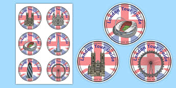 London Tour Guide Role Play Badge - London, captial, tour guide, role play, badge, label, England, tourism, tourist, information, Big Ben, Parliament, Tower Bridge, sight seeing