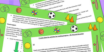 P Scales Ideas for Activities for Tracking Progress P8 PE - PE
