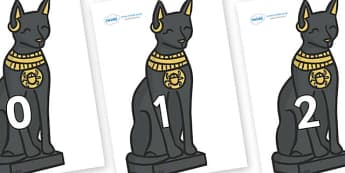 Numbers 0-100 on Egyptian Cats - 0-100, foundation stage numeracy, Number recognition, Number flashcards, counting, number frieze, Display numbers, number posters