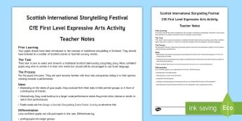 Scottish International Storytelling Festival Expressive Arts CfE First Level Activity - Arts, Drama, Poster, Performance, Story, Nursery, Fairy, Scotland, tradition,,Scottish