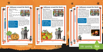 KS1 Halloween around the World Differentiated Reading Comprehension Activity - 31st October, Costumes, Pumpkins, Questions, Decode, assessment, KS1 SATs