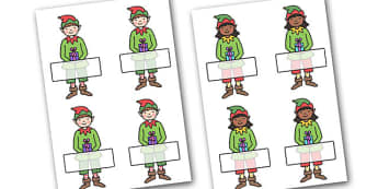 Christmas Editable Self Registration Elves - christmas, xmas, self registration, self-registration, editable, editable labels, self registration labels on elves, elves, elf, elves labels, elf labels, editable self registration labels, labels, registr