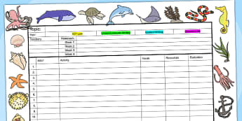 Under The Sea Themed Editable Mid Term Planning Template - plans