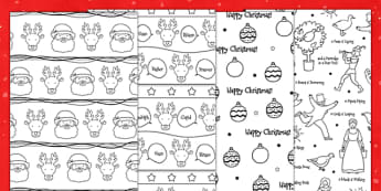 Christmas Printable Colour-in Wrapping Paper - festivities, wrap, decorate