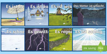 Weather Display Posters German - Weather, Wetter, Poster, German, Deutsch, DAZ, DAF,German