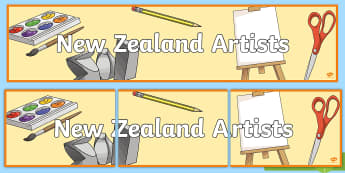 New Zealand Artists Display Banner - Rita Angus, Goldie, Colin McCahon, NZ