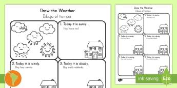 Ficha de actividad: Dibujar el tiempo - tiempo, clima, hace sol, hace calor, esta nublado, esta nevando, está nevando, español, spanish,