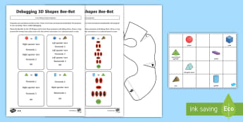 Create and Debug Programs with 3D Shape Bee-Bot Activity Pack - KS1, curriculum aims, computing, Bee-Bot, instructions, algorithms, debug, create, mat, control, pro