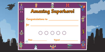 Superhero Themed Reward Certificate 15mm - superheroes, superhero, superhero reward certificates, superhero certificate, superhero sticker reward