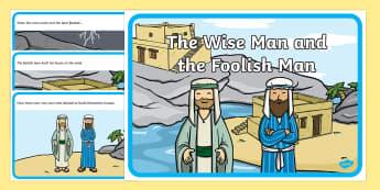 The Wise Man And The Foolish Man - the wise man, the foolish man, wise, foolish, sequencing, story sequencing, story resources, A4, cards, sand, rock, rain, houses, building, house, bible story, bible
