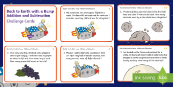 KS1 Back to Earth with a Bump Addition and Subtraction Maths Challenge Cards - Back to Earth with a Bump, space, planets, night and day, dark, sun, Mars, moon, stories, picture bo