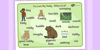 Ive Lost My Teddy Where Is It Word Mat Images - Where's My Teddy, teddy, woods, forest, lost, bear, word mat, writing aid, mat, reading, story, book