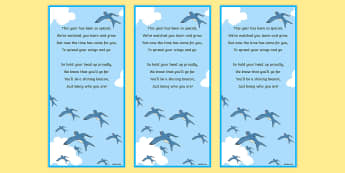 Spread Your Wings End of Year Poem Editable Bookmarks - moving on, transition, new class, proud, goodbye, end of year