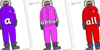 100 High Frequency Words on Arctic Explorers - High frequency words, hfw, DfES Letters and Sounds, Letters and Sounds, display words