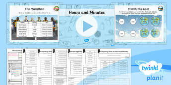 PlanIt Y3 Measurement Lesson Pack Estimate, Time and Compare (3) - measurement, time, estimate, time, compare, hours, hours and minutes, record and compare times in te