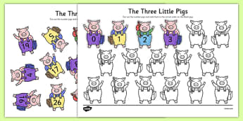 The Three Little Pigs Number Ordering 0-31 - the three little pigs, number ordering, 0-31
