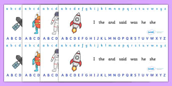 Alphabet Strips (Space) - Alphabet, Learning letters, Writing aid, Writing Area, space, rocket, planet, stars, astronaut