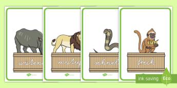 Adjektive auf Zootieren Poster für die Klassenraumgestaltung - Zootiere, Adjektive, Adjektiv, Wiewörter, Eigentschaftswörter, Tiere, Zoo, Beschreibung, Eigentsch