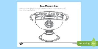 Sam Maguire Cup Colouring Activity Sheet-Irish, worksheet