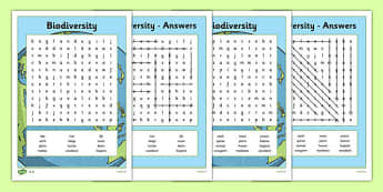 Biodiversity Word Search - Biodiversity, Green schools, environment, word search, puzzle, information, green flag, nature