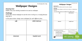 Wallpaper Designs Activity Sheet - Amazing Fact Of The Day, activity sheets, powerpoint, starter, morning activity, May, wallpaper, des