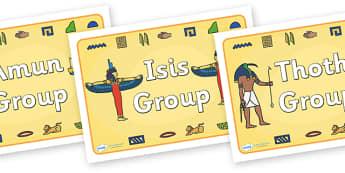 Class Group Signs (Ancient Egyptian Gods) - Ancient Egyptian, history, group signs, group labels, teaching groups, class group, class groups, Egyptians, Egypt, pyramids, Pharaoh, hierogliphics, hieroglyphs, Tutankhamun, Giza, Dahshur, Mummy