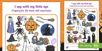 Halloween Themed I Spy With My Little Eye Activity Sheet English/French -  i spy, activity, halloween, witches, pumpkin, haunted house,worksheet, EAL French,French-translatio