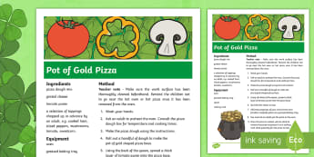 KS2 St Patrick's Day Pot of Gold Pizza Recipe - KS1& 2 St Patrick's Day UK March 17th 2017, St Patrick's Day, recipe, pizza, leprechaun, instructi