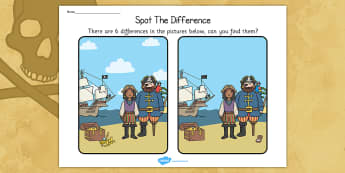 Pirates Spot the Difference Activity - pirate, activities, games
