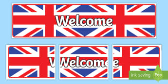 Union Jack Themed Welcome Display Banner - Union Jack Themed Welcome Display Banner - flag, country, UK, England, Scotland, Wales, display, ban
