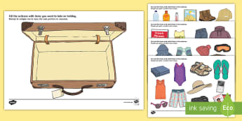 Pack a Suitcase Cut and Stick Activity English/Italian - Pack a Suitcase Cut and Stick Activity - suitcase, cut and stick, EAL