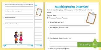 Autobiography Interview Activity - interview, ask, question, answer, share, literacy, english, clipboard, find, interests,Australia