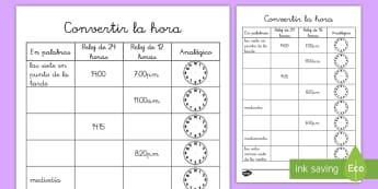 Ficha de actividad: Escribir la hora - ficha, la hora, el tiempo, reloj, relojes, 24 horas, 12 horas, análogo, digital, escribir, matemát