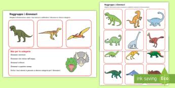 Raggruppa i dinosauri Attività - gruppi, insiemi, dinosauri, italiano, italian, materiale, scolastico