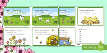 Spring Maths Challenge Cards - NI, Spring, maths, addition, subtraction, lambs, Easter, bees.
