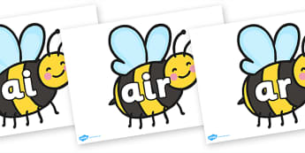 Phase 3 Phonemes On Bees - phase 3, phonemes, bees, display