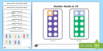 Workstation Pack: Number Bonds to 10 with Number Shapes Activity - TEACCH, number bonds, autism, ASD, Numicon, independent work