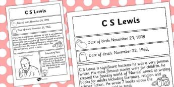 C S Lewis Significant Individual Fact Sheet - fact sheet, lewis