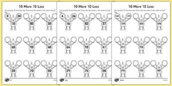 10 More 10 Less Robots Activity Sheet - activity, robot, numbers, worksheet