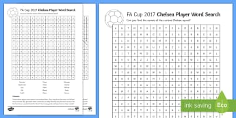FA Cup Chelsea Team Word Search - fa cup, football, chelsea, wembley